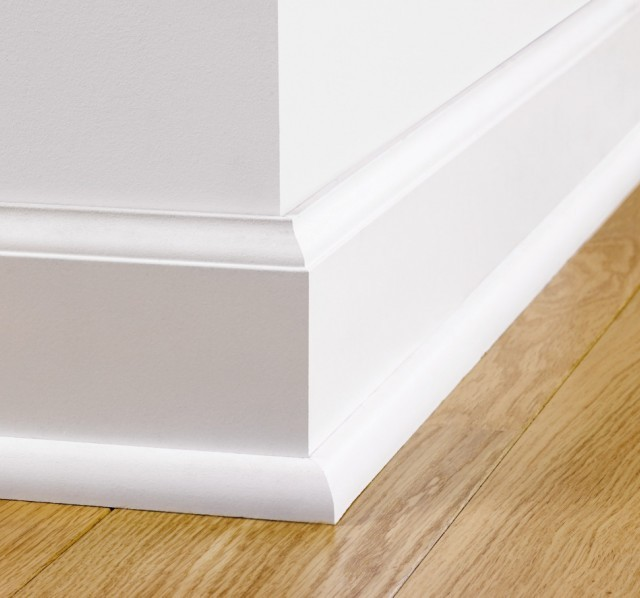 Paintable skirting ovolo qsiskrwhitemd240 quick step for Wood skirting