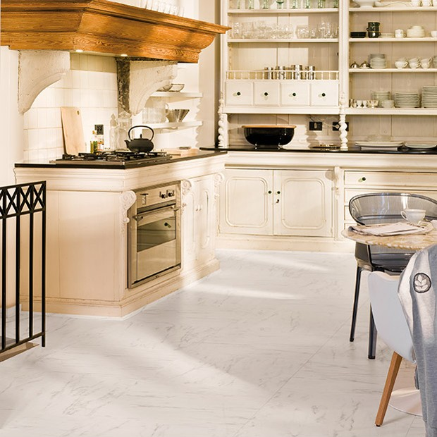 Best Laminate Flooring For Kitchen: Marble Carrara Tiles UF1400 Laminate Flooring