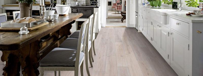 engineered wood flooring in spacious kitchen