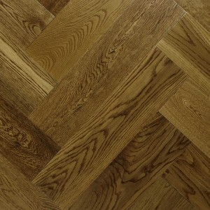 Antique Golden Lacquered Oak Herringbone