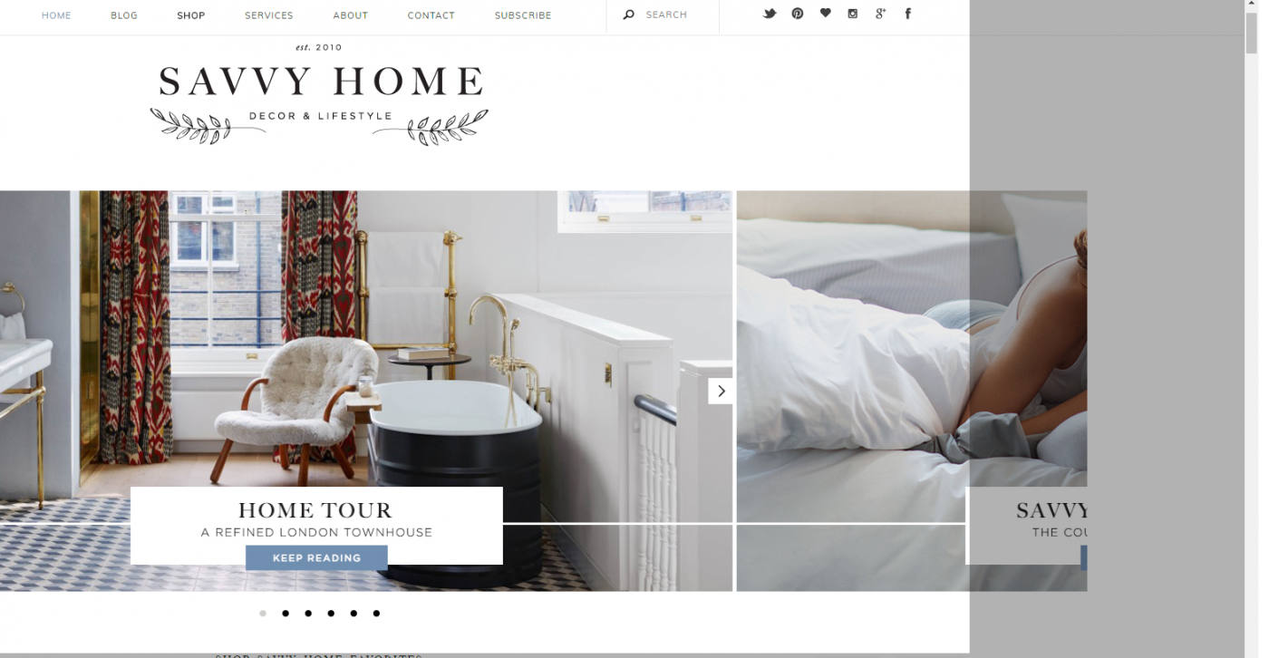 Savvy Home website homepage