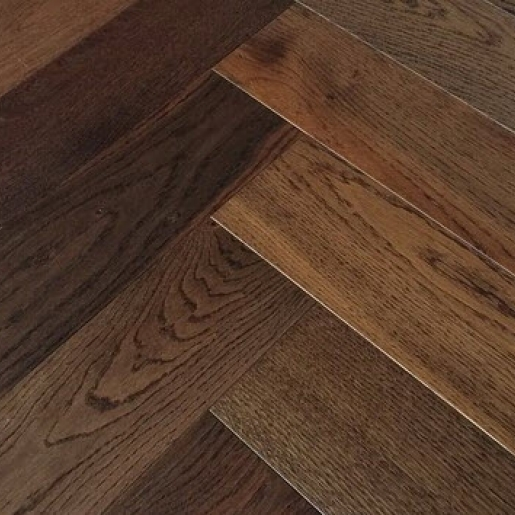 Herringbone Dark Smoked Oak | Elka 14mm Engineered Wood | Best at Flooring