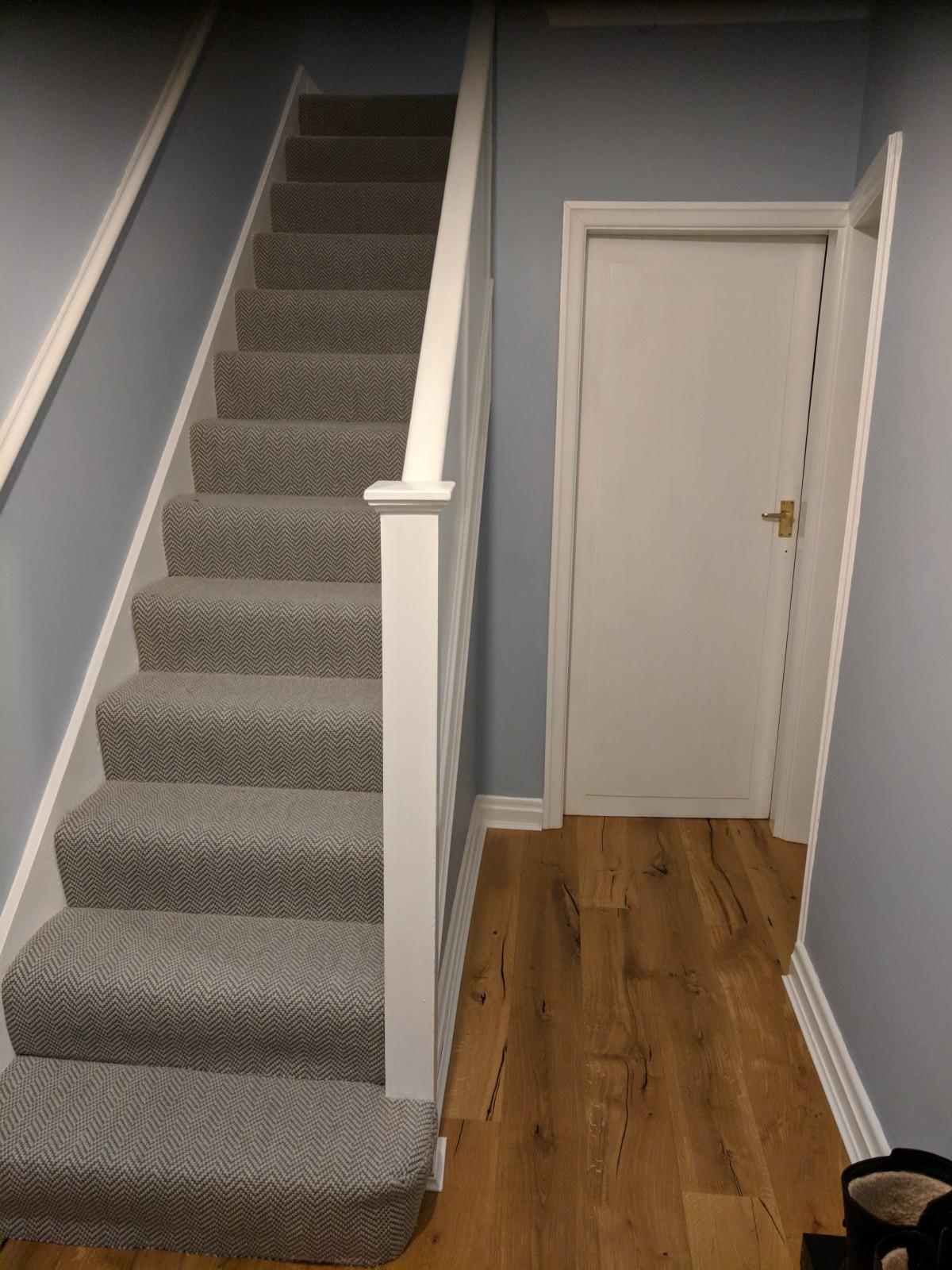 Newly laid hallway flooring