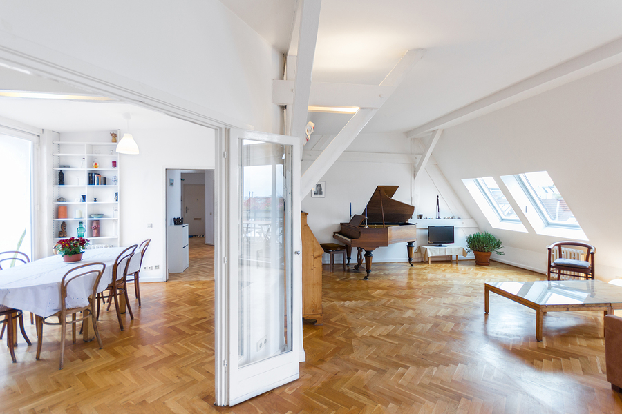 beautiful home interior - living room and dining area in attic apartment