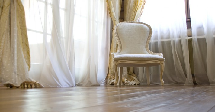 White chair near the window on v4 flooring