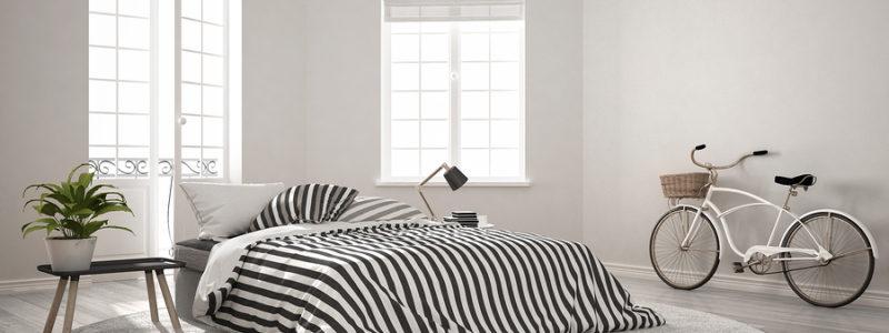 Minimalist scandinavian modern bedroom, classic nordic interior