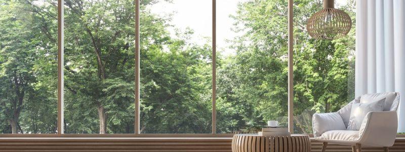 Modern living room in summer.