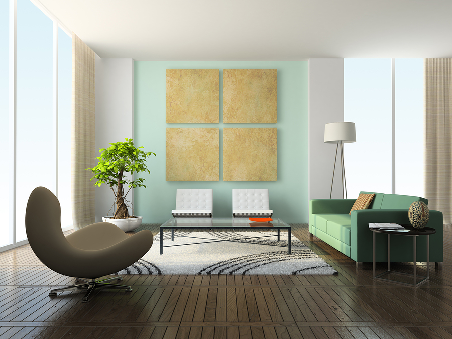 Interior of modern living room with narrow engineered flooring planks.