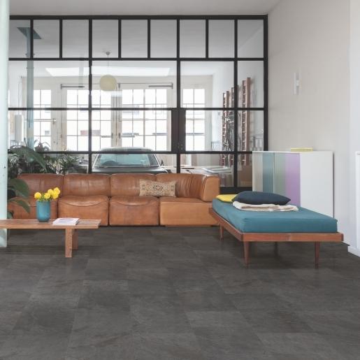 Quick-Step Alpha Vinyl Tile Black Slate AVST40035 | Best at Flooring