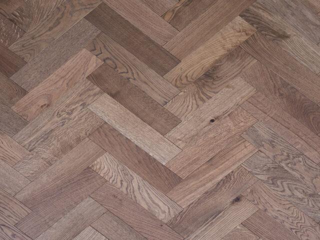 Dark Stain Matt Lacquered Herringbone Engineered Wood | Top View