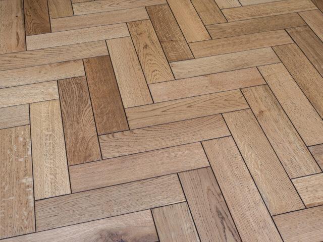 Burnt Edged Matt Lacquered Herringbone Engineered Wood | BestatFlooring
