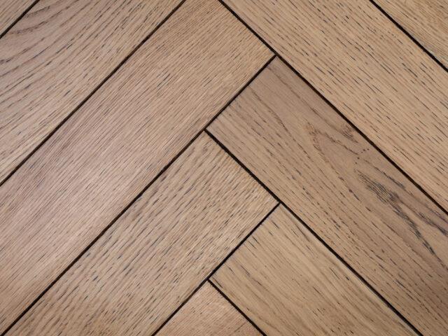 Burnt Edged Matt Lacquered Herringbone Engineered Wood | Close Up