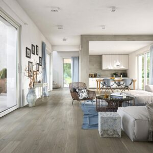 14mm Grey Oak Brushed & Matt Laquered Click | Best at Flooring