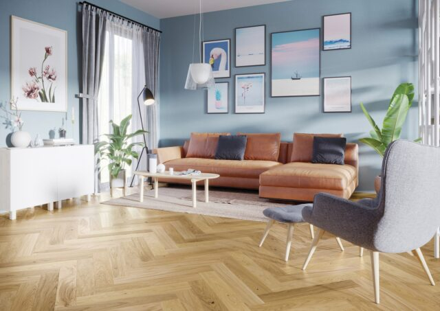 Oak Select Brushed & Matt Lacquered Herringbone Click | Best at Flooring