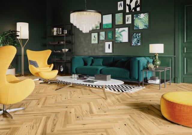 Light Oak Brushed & Natural Oiled Herringbone Click | Best at Flooring
