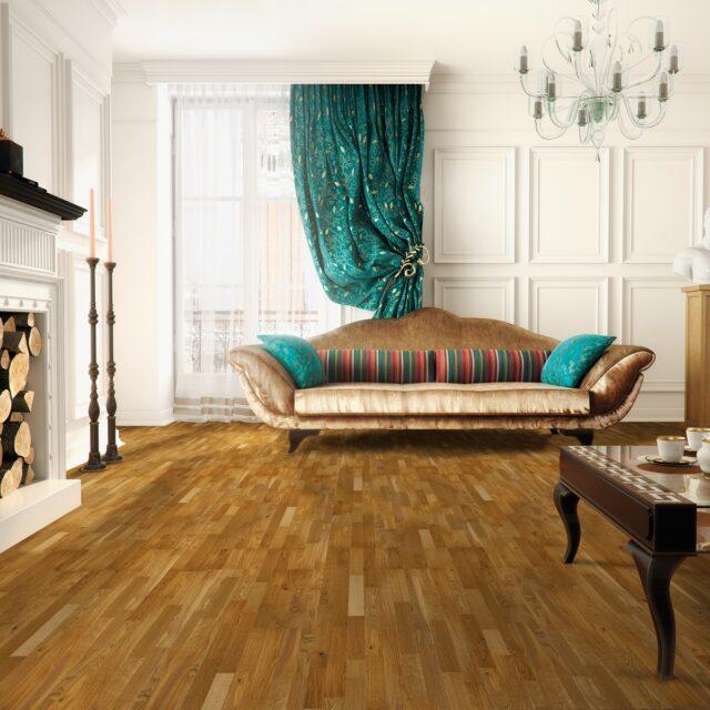 3-Strip Golden Oak Lacquered Click | Best at Flooring