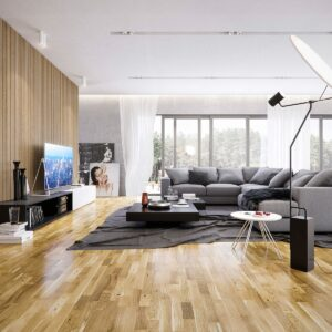 3-Strip Natural Oak Lacquered Click | Best at Flooring
