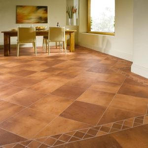 Fired Clay Terracotta - Knight Tile   Room View