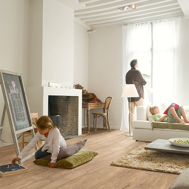Quick Step laminate | Perspective Wide | Oak Planks With Saw Cuts Natural ULW1548