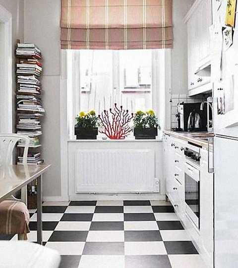 Dining-room-Kitchen-with-black-and-white-vinyl-flooring