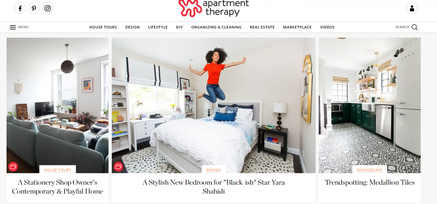 Apartment Therapy Website Home page