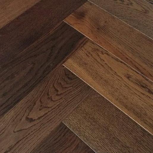 Herringbone Dark Smoked Oak | Elka 14mm Engineered Wood | Best at Flooring